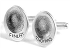Oval fingerprint cufflinks